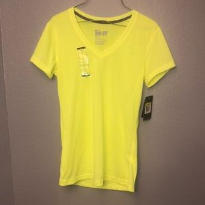 NWT Womens Nike Dri-Fit neon yellow training shirt